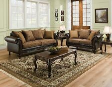 San Marino Traditional Living Room Furniture Set w/ Wood Trim & Accent Pillows