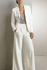 Women Ladies Formal Business Office White 2 Piece Jacket+Pants Suits Custom Made