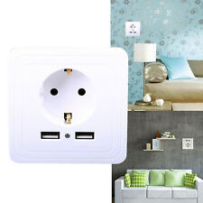 EU 240V Dual-USB Port  Wall Plug Socket Power Charger Socket Outlet Panel Plate