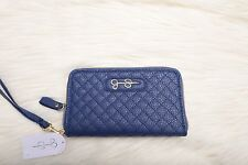 JESSICA SIMPSON Womens Fashion Zip Around Wallet Royal Blue Quilted  NWT NEW