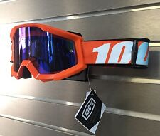 100% Motocross Offroad Strata MX Goggles Orange / Mirror Blue Lens 50410-006-02