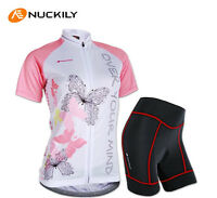 Womens Jersey Pad Shorts Padded Sports Short Sleeve Suit Bike Cycling Racing Set