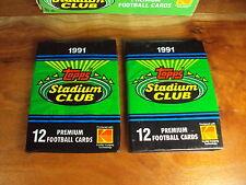 (2-Pack LOT) 1991 Topps Stadium Club Football Look for #94 Brett Favre Rookie RC