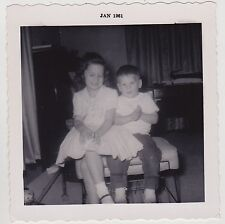 Square Vintage 60s B&W PHOTO Little Girl & Boy Brother & Sister At Home
