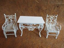 """MINIATURE DOLLHOUSE LACY? victorian wrought wicker side table & 2 arm chairs 1""""1"""