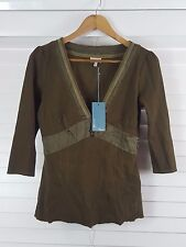 KAREN MILLEN sz 12 womens Olive ¾ Sleeve Ribbed Top NEW + TAGS [#2898]