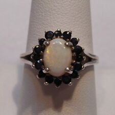 *Vintage Antique Estate~Genuine Opal & Sapphire 925 Sterling Silver Ring Size 9