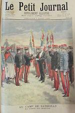 REMISE DRAPEAUX CAMP DE SATHONAY SOLDATS PRESIDENT GRAVURE PETIT JOURNAL 1895