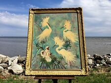 1968 Oil Painting Board Noted Listed MIAMI FLORIDA ARTIST J Mcgibbon Brown BIRDS