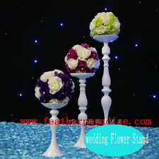 1 pc Wedding Flower Feather Ball Floral Stand/Pillar Candle Holder White 20 inch