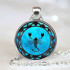 HOT Vintage Scorpion Cabochon Silver plated Glass Chain Pendant Necklace