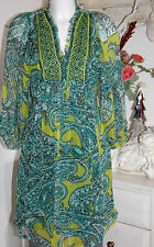 Antik Batik Tunika  Tunic Seide Silk Papago Dress Langarm Green Size:S/38 Neu