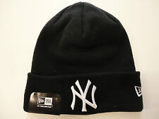 NEW ERA CAP MLB NEW YORK YANKEES STRICK-MÜTZE BEANIE SCHWARZ BASEBALL TOP & NEU