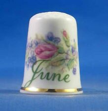 Birchcroft China Thimble -- Flower of the Month June with Free Dome Gift Box