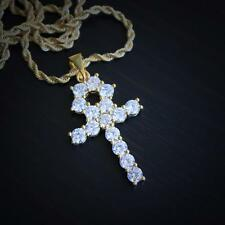 18k Gold Plated Mini Lab Diamond Ankh Cross With Rope Chain Necklace
