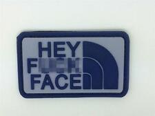 Hey F*** Face PVC Airsoft Patch Blue