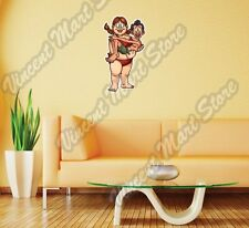 Fat Woman Carrying Thin Man Husband Wife Wall Sticker Room Interior Decor 16X25""