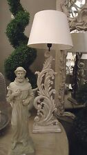 Tall French grey hand Carved Wood Base Table Lamp Light With cream Shade H92cm