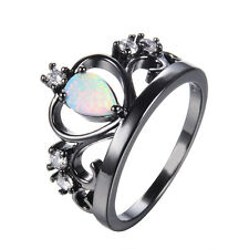 White Fire Opal Princess Crown Wedding Ring 10KT Black Gold Filled Band Size 6-9