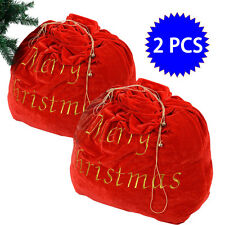 2 PCS 35'' x 31'' Santa Claus Christmas Gift Bag Candy Party Cookie Bags w/Belt