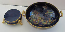 CARLTON WARE VASE BOWL WITH STAND SUPERB TEMPLE PATTERN BLUE & GOLD 1927
