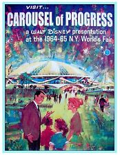 "VINTAGE DISNEY POSTER - CAROUSEL OF PROGRESS - WORLDS FAIR 8.5"" x 11"""