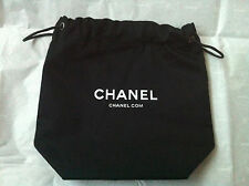 "Authentic CHANEL Black & White Pouch Gift Bag Drawstring New 7"" 17 cm Signature"
