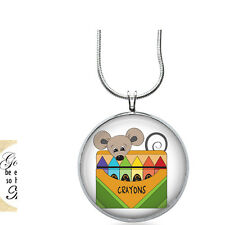 Mouse with Crayons Necklace - School Gift - Gifts for Her - Jewelry