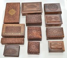 12 PCS HANDMADE ROSEWOOD HAND CARVED WOOD CHEST JEWELRY BOX #F-239