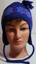 COLUMBIA PERUVIAN BEANIE, BLUE POLY, FROM CANADA --YOUTH ONE SIZE! . . GUC!!