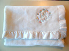Vtg. White Baby Blanket Cuddle Time Satin Trim Security Blanket Lovey Acrylic