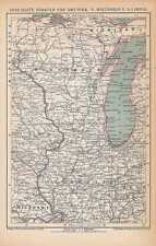 América wisconsin Illinois michigan mapa de 1894 Michigan