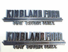 "Old Canadian Car Dealer ""Kingland Ford Hay River N.W.T."" Emblem Plastic Pair"