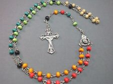 Rosary Necklace MULTICOLOR Wood Bead Detailed Silver Tone Crucifix & Chain GIFT!