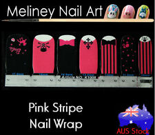 Pink Stripe Skull Nail Art Wrap Full Cover Stickers Bow