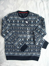 Tommy Hilfiger Black Snowflakes LambsWool men's sweater --size L