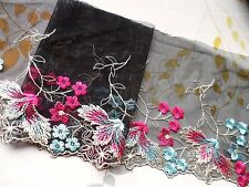 """1Yard~ 6""""~Embroidered Venise Lace Tulle Flower Dress Bridal Black Multi-color"""