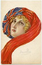 ILLUSTRATEUR BOURRILLON.PATRIOTIQUE. PATRIOTIC. PORTRAIT. FEMME. DRAPEAU ANGLAIS