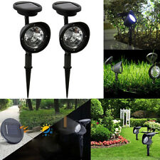 Set of 2: Solar Garden Outdoor 3LED Spot Lawn Spotlight Landscape Path Lighting