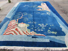 Antique hand made tapis art deco chinois nicolas grand tapis en laine bleue 450x300cm