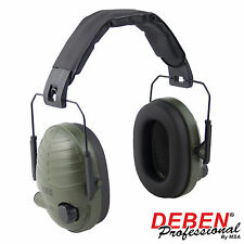 DEBEN STEREO ELECTRONIC EAR DEFENDERS GREEN FOR SHOOTING AND HUNTING