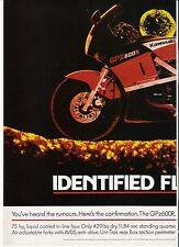 Kawasaki GPz600R classic period motorcycle advert 1985