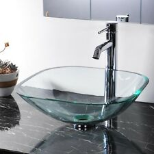 New Modern Bathroom Tempered Glass Vessel Sink Natural Clear Square Vanity