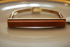 CARA NY RUNWAY COUTURE GOLD TONED METAL AND LIGHT WOOD MAGNETIC CLASP BRACELET