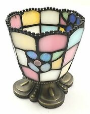 Vintage PartyLite Stained Colored Glass Hydrangea Votive Candle Holder RETIRED