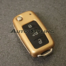 Gold VW SEAT SKODA Remote Flip Key Cover Case Skin Shell Protector Fob Hull 57gg