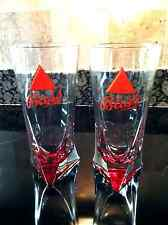 BASS ALE NEW 16OZ PAIR OF RED TRIANGLE BOTTOM BEER GLASSES