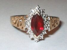 """Vintage 10k gold created ruby gemstone promise friendship cocktail """"S"""" ring Sz 7"""