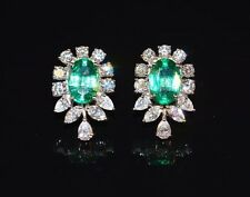 CERTIFIED NATURAL 8.23CTS VS F G DIAMOND EMERALD PLATINUM STUD CLUSTER EARRINGS