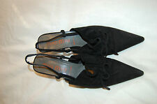 Miu Miu Black Suede Slingbacks Heels Pointy Shoes Size 8 1/2 Made in Italy